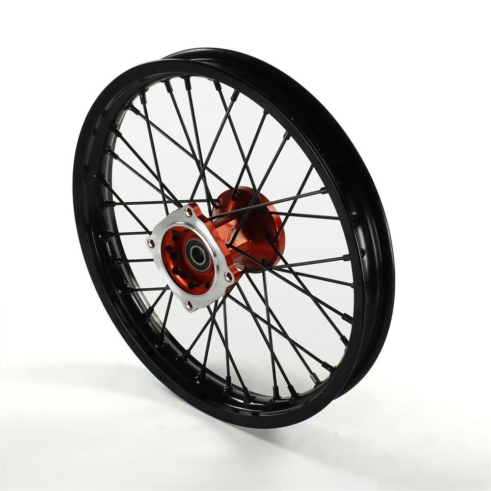 Front Wheel Rim Aluminium Hub Cnc 15mm Axle 14 Volt Racing Pit Bike Dirt Bike Orange Buy Maxiscoot Com